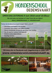 Flyer open dag Hondenschool Dedemsvaart
